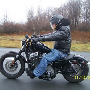 My son on his Harley